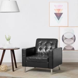 Πολυθρόνα Μαύρη από Συνθετικό Δέρμα