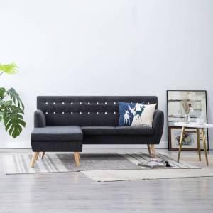 Καναπές Γωνιακός Σκούρο Γκρι 171,5 x 138 x 81,5 εκ. Υφασμάτινος