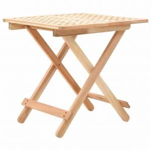 Τραπέζι Βοηθητικό Πτυσσόμενο 50x50x49 εκ. Μασίφ Ξύλο Καρυδιάς