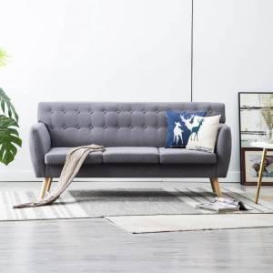 Καναπές Τριθέσιος Ανοιχτό Γκρι 172 x 70 x 82 εκ. Υφασμάτινος