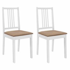 Καρέκλες Τραπεζαρίας με Μαξιλάρια 2 τεμ. Λευκές από Μασίφ Ξύλο