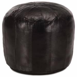 Πουφ Μαύρο 40 x 35 εκ. από Γνήσιο Δέρμα Κατσίκας