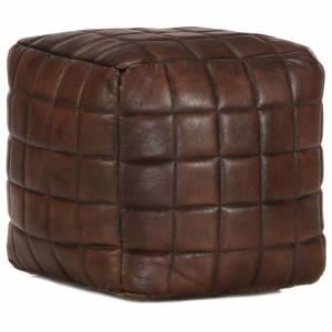 Πουφ Σκούρο Καφέ 40 x 40 x 40 εκ. από Γνήσιο Δέρμα Κατσίκας