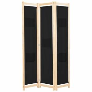 Διαχωριστικό Δωματίου με 3 Πάνελ Μαύρο 120x170x4 εκ. Υφασμάτινο