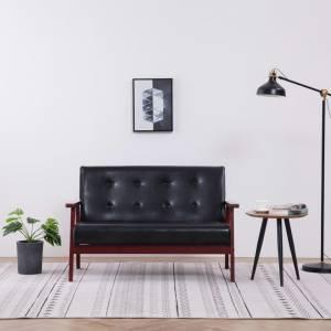 Καναπές Διθέσιος Μαύρος από Συνθετικό Δέρμα