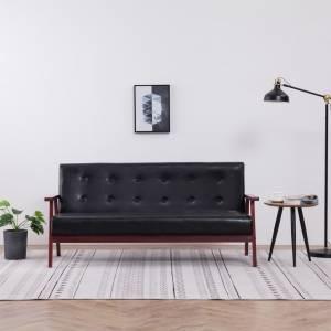 Καναπές Τριθέσιος Μαύρος από Συνθετικό Δέρμα