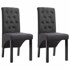 Καρέκλες Τραπεζαρίας 2 τεμ. Σκούρο Γκρι Υφασμάτινες