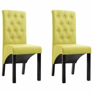 Καρέκλες Τραπεζαρίας 2 τεμ. Πράσινες Υφασμάτινες