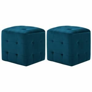 Κομοδίνα/Σκαμπό 2 τεμ. Μπλε 30x30x30 εκ. από Βελούδινο Ύφασμα