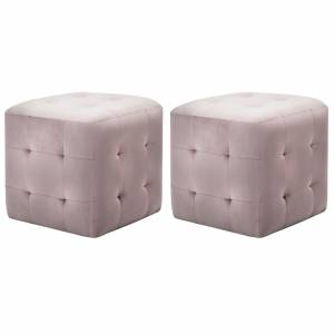 Κομοδίνα/Σκαμπό 2 τεμ. Ροζ 30x30x30 εκ. από Βελούδινο Ύφασμα