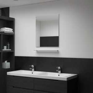 Καθρέφτης Τοίχου με Ράφι 50 x 60 εκ. από Ψημένο Γυαλί