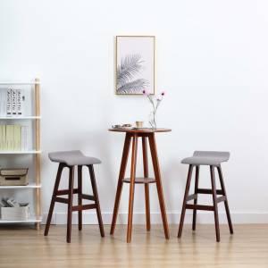 Καρέκλες Μπαρ 2 τεμ. Ανοιχτό Γκρι Υφασμάτινες