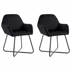 Καρέκλες Τραπεζαρίας 2 τεμ. Μαύρες Βελούδινες