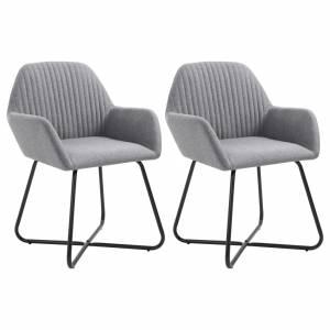 Καρέκλες Τραπεζαρίας 2 τεμ. Ανοιχτό Γκρι Υφασμάτινες