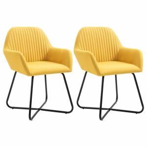 Καρέκλες Τραπεζαρίας 2 τεμ. Κίτρινες Υφασμάτινες