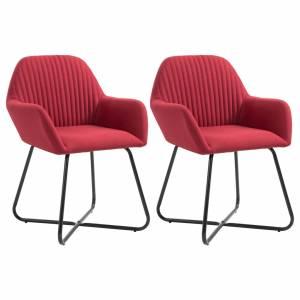 Καρέκλες Τραπεζαρίας 2 τεμ. Μπορντό Υφασμάτινες