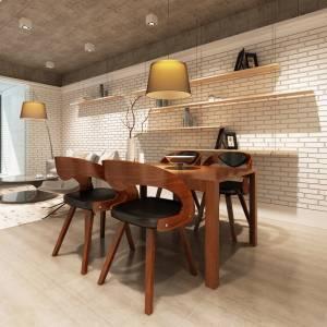 Καρέκλες Τραπεζαρίας 4 τεμ. Καφέ Λυγισμένο Ξύλο/Συνθετικό Δέρμα