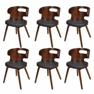 Καρέκλες Τραπεζαρίας 6 τεμ. Καφέ Δερματίνη/Ξύλινος Σκελετός