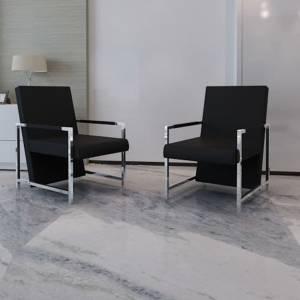 Πολυθρόνες 2 τεμ. Μαύρες από Συνθετικό Δέρμα με Σκελετό Χρωμίου