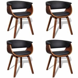 Καρέκλες Τραπεζαρίας 4 τεμ. με Ξύλινο Σκελετό & Συνθετικό Δέρμα