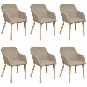 Καρέκλες Τραπεζαρίας 6 τεμ. Μπεζ Υφασμάτινες / Μασίφ Ξύλο Δρυός