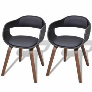 Καρέκλες Τραπεζαρίας 2 τεμ. Μαύρες Λυγισμ. Ξύλο/Συνθετικό Δέρμα