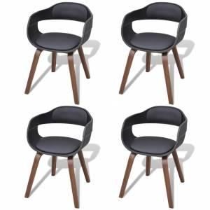 Καρέκλες Τραπεζαρίας 4 τεμ. Μαύρες Λυγισμ. Ξύλο/Συνθετικό Δέρμα