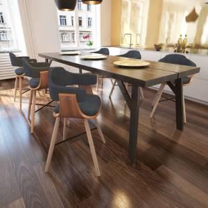 Καρέκλες Τραπεζαρίας 6 τεμ. Σκούρο Γκρι Λυγισμένο Ξύλο / Ύφασμα