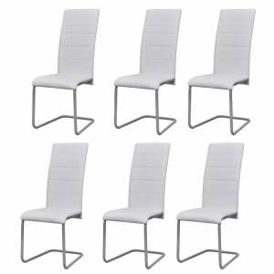 Καρέκλες Τραπεζαρίας «Πρόβολος» 6 τεμ. Λευκές Συνθετικό Δέρμα