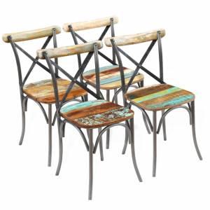 Καρέκλες Τραπεζαρίας 4 τεμ. από Μασίφ Ανακυκλωμένο Ξύλο