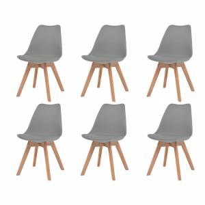 Καρέκλες Τραπεζαρίας 6 τεμ. Γκρι από Συνθετικό Δέρμα