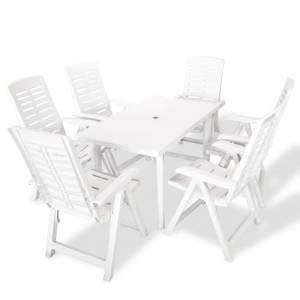 Σετ Τραπεζαρίας Εξωτερικού Χώρου 7 Τεμαχίων Λευκό Πλαστικό