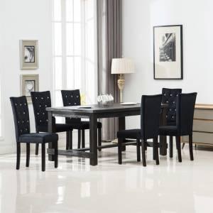 Καρέκλες Τραπεζαρίας 6 τεμ. Μαύρες Βελούδινες