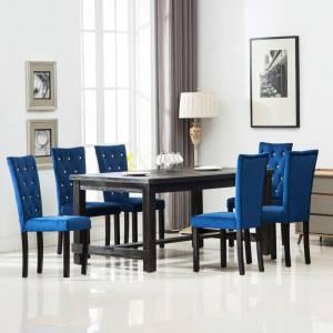 Καρέκλες Τραπεζαρίας 6 τεμ. Σκούρο Μπλε Βελούδινες