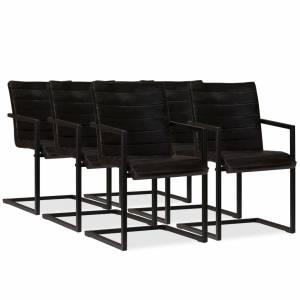Καρέκλες Τραπεζαρίας 6 τεμ. Ανθρακί από Γνήσιο Δέρμα