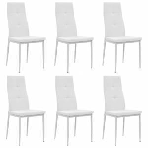 Καρέκλες Τραπεζαρίας 6 τεμ. Λευκές από Συνθετικό Δέρμα
