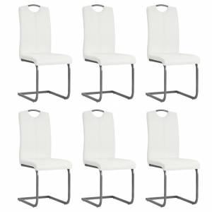 Καρέκλες Τραπεζαρίας 6 τεμ. Λευκές 43x55x100 εκ Συνθετικό Δέρμα