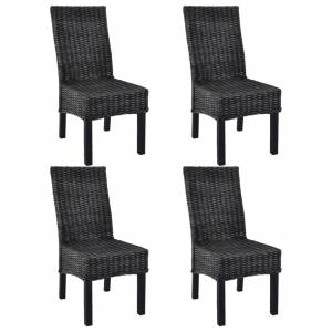 Καρέκλες Τραπεζαρίας 4 τεμ. Μαύρες Ρατάν Kubu και Ξύλο Μάνγκο