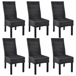 Καρέκλες Τραπεζαρίας 6 τεμ. Μαύρες Ρατάν Kubu και Ξύλο Μάνγκο