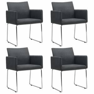 Καρέκλες Τραπεζαρίας 4 τεμ. Σκούρο Γκρι Υφασμάτινες