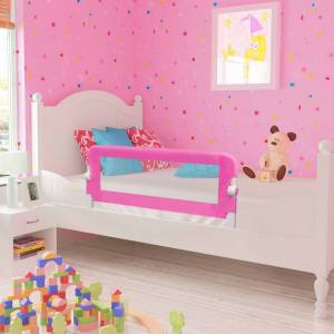 Μπάρα Κρεβατιού Προστατευτική για Παιδιά 2 τεμ. Ροζ 102x42 εκ.