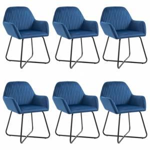 Καρέκλες Τραπεζαρίας 6 τεμ. Μπλε Βελούδινες