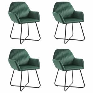 Καρέκλες Τραπεζαρίας 4 τεμ. Πράσινες Βελούδινες