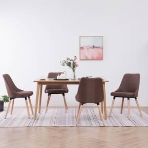 Καρέκλες Τραπεζαρίας 4 τεμ. Καφέ Υφασμάτινες