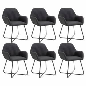 Καρέκλες Τραπεζαρίας 6 τεμ. Μαύρες Υφασμάτινες
