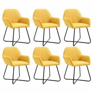 Καρέκλες Τραπεζαρίας 6 τεμ. Κίτρινες Υφασμάτινες