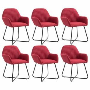 Καρέκλες Τραπεζαρίας 6 τεμ. Μπορντό Υφασμάτινες