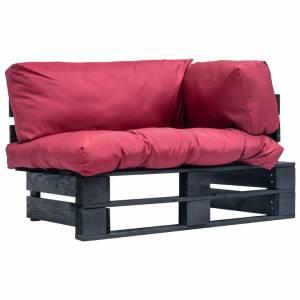 Καναπές Κήπου από Παλέτες Ξύλο Πεύκου με Κόκκινα Μαξιλάρια