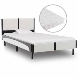 Κρεβάτι Ασπρόμαυρο 90 x 200 εκ. από Συνθετικό Δέρμα με Στρώμα