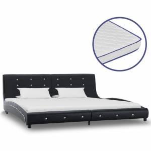 Κρεβάτι Μαύρο 180 x 200 εκ. Δερματίνη με Στρώμα Αφρού Μνήμης